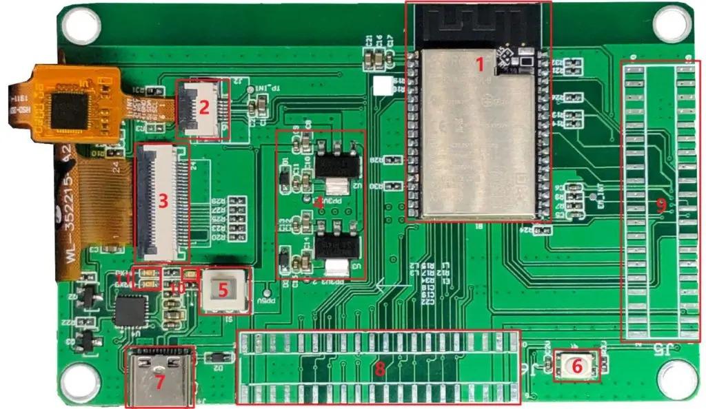 WT32-SC01 hátlap, nyák